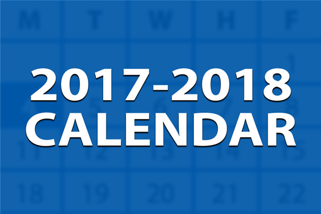 Blue box with words 2017-2018 Calendar