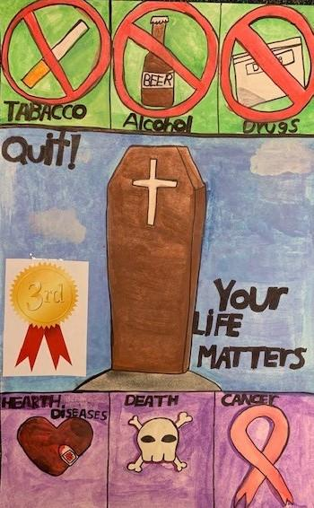 Student Amy Ayala's winning Lions Club Drug Awareness poster depicting dangers of alcohol, tobacco, and drugs.