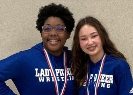 Two Lady Pioneer Wrestlers at the 6A UIL State Wrestling Championships