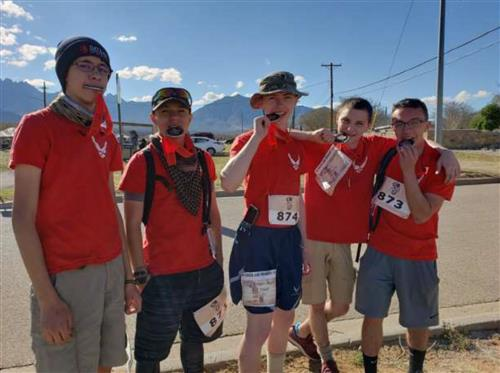 EMS ISD AFJROTC Cadets pose with their medals at the Bataan Memorial Death March.
