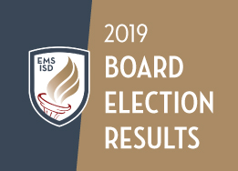Graphic with district shield and torch logo and text that reads: 2019 Board Election Results