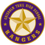 Chisholm Trail High School logo - purple badge with yellow star with CTHS Rangers in text around border