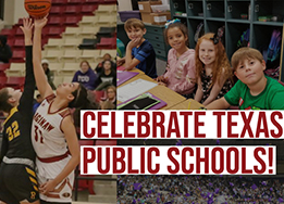 Collage of basketball, elementary kids, and graduation. #EMSPROUD Celebrate Texas Public Schools!