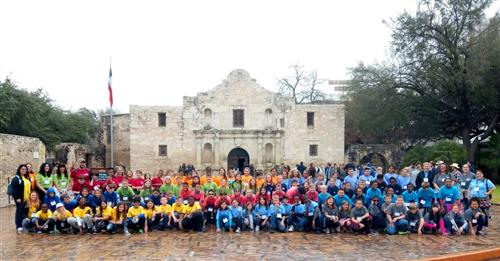 Comanche Springs students pose in front of the Alamo during their field trip on Feb. 9.