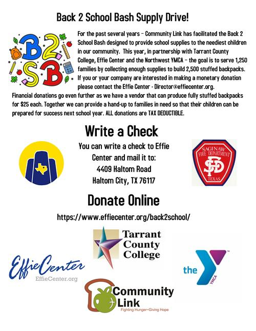Community Link's Back to School Bash Supply Drive 2018 flyer