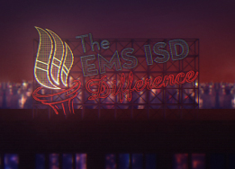Neon sign on rooftop that says The EMS ISD Difference