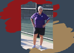 Crook standing on a tennis court and blue, gold and red colors behind the photo