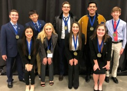 photo of nine BHS DECA state qualifiers