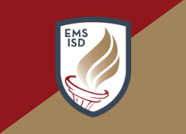 EMS shield logo with gold and red triangles behind
