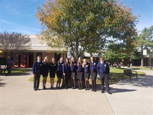 FFA students from all three high schools pose for a picture at the FFA district contest.