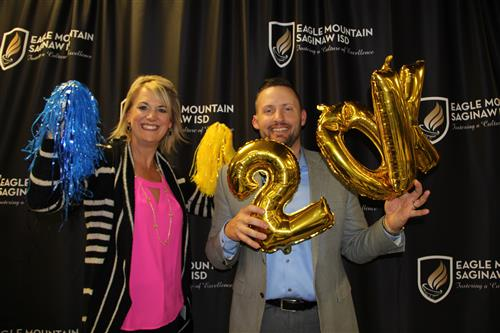 Boswell principals pose in the EMS ISD photo booth at Taste of Northwest.