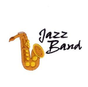 picture of a saxophone and a jazz band logo