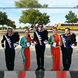 Saginaw HS band members pose with their awards after prelims.