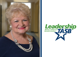 Marilyn Tolbert portrait and Leadership TASB logo
