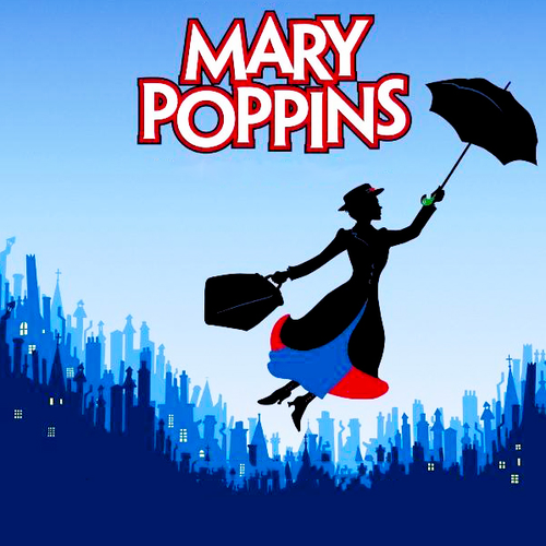 Photo of Mary Poppins with umbrella