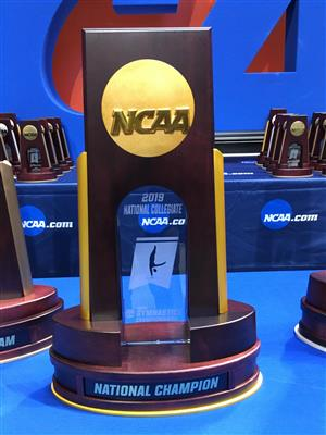 photo of the 2019 NCAA Men's Gymnastics National Championship trophy