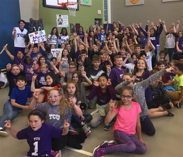 photo of TCU spirit squad and EME students