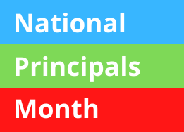 Words National Principals Month in front of Red, Green, and Blue Stripes