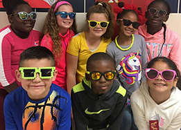 Bryson Elementary students pose for a group picture while wearing sunglasses for Red Ribbon Week.