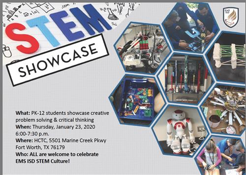 STEM Showcase flyer. PK-12 students showcase creative problem solving and critical thinking on Thursday, Jan 23, 2020 at 6:00
