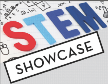 Graphic with text STEM Showcase
