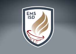 EMS ISD shield logo in front of a blue gradient background