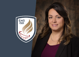 Portrait of Stacey DeHoyos and EMS ISD logo