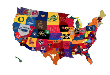 Graphic of the United States with college logos on it.