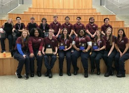 HCTC students pose with Texas Public Service Association regional 1st place trophy