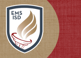 EMS ISD Shield logo plus blue and gold background