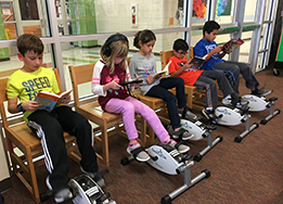 Willow Creek Elementary library pedal stations featured in School Library Connection magazine