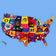 Outline of the United States with college logos on each state.