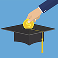 Illustration of a graduation cap with an hand putting a gold coin into it like a piggy bank.