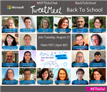 Microsoft TweetMeet graphic - photos of international educators who participated in Back To School discussion