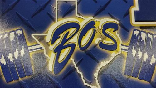 BOS Powerlifting Logo - linked to Official Athletics Site of Boswell Pioneers