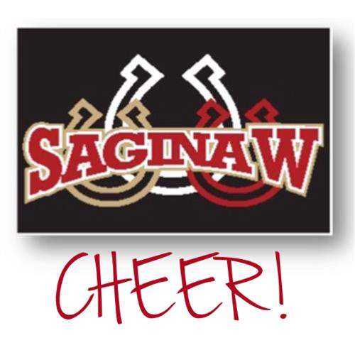 Saginaw CHEER on black background with white gold and red horseshoes