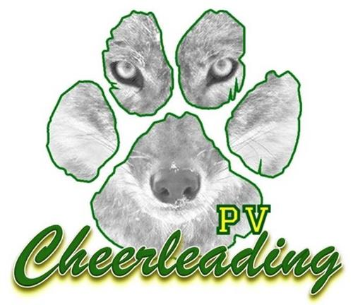PV Cheerleading logo with coyote paw