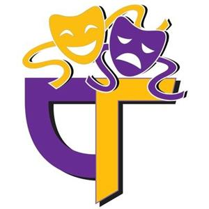 CTHS Drama Logo - purple C, gold T with purple and gold thespian masks