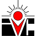 Irvine Valley College logo - IVC, circle with sunrays in mouth of V