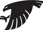 Sauk Valley logo - black silhouette of hawk bird