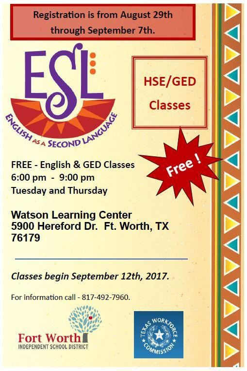Adult Education Programs - ESL & GED Classes offered by EMSISD in conjunction with FWISD. Please call 817 492 7960