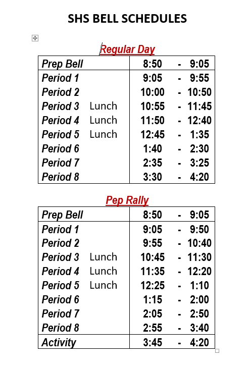 Saginaw High Bell Schedule photo