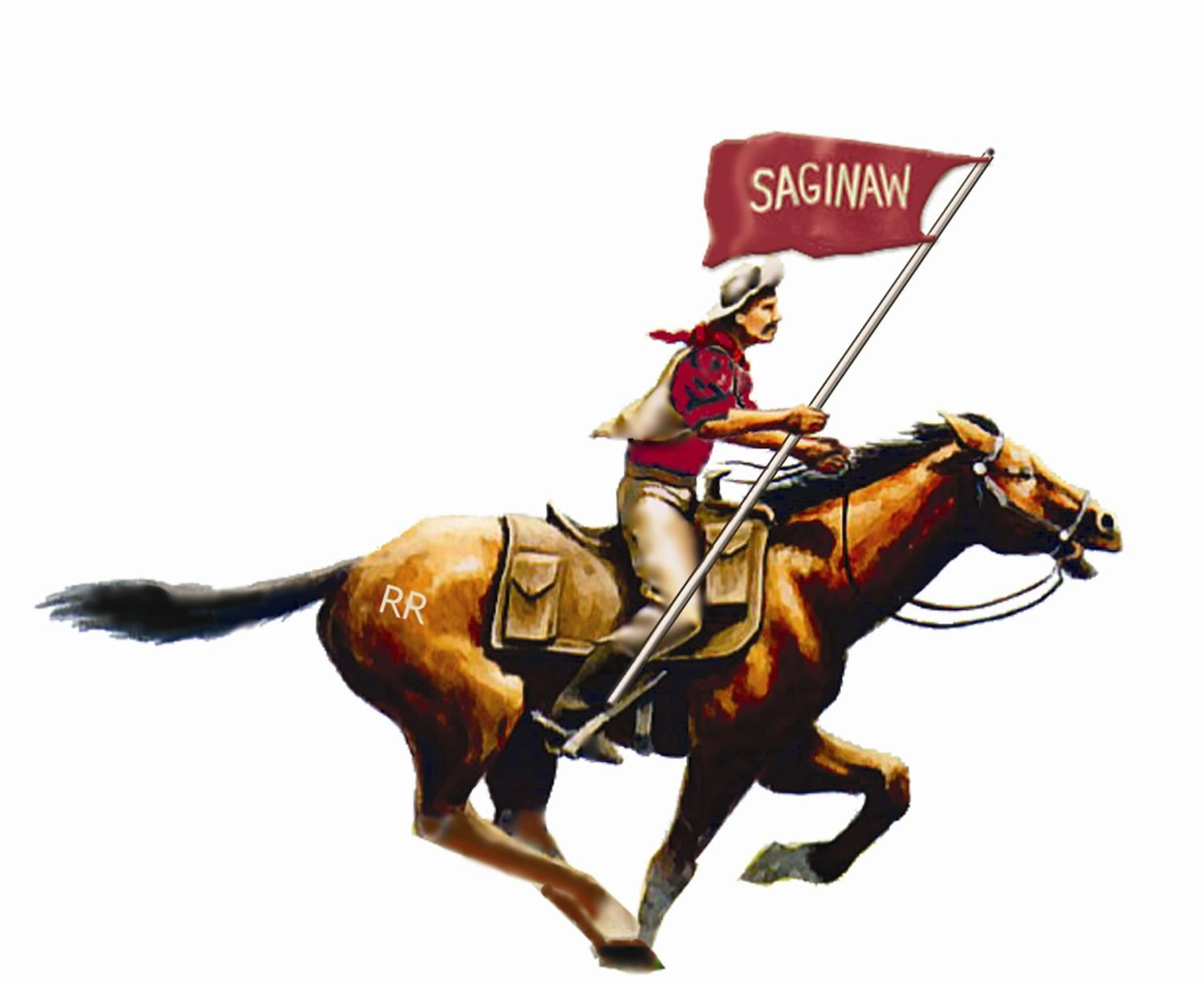 SHS logo with man on a horse carrying SHS flag